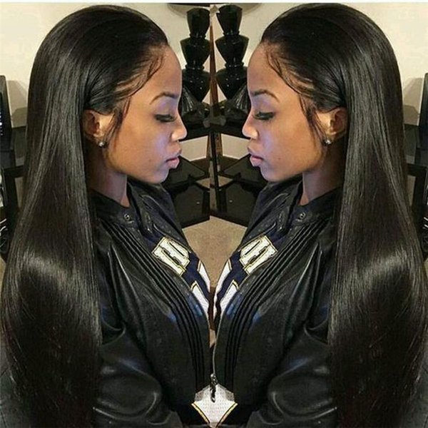 """Straight Lace Front Human Hair Wigs Free Part Brazilian Remy Hair Full Lace Wig 8""""-24""""Pre Plucked Natural Hairline"""