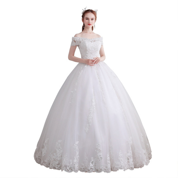 top popular Off Shoulder Tulle Ball Gown Wedding Dresses 2020 Lace Appliques Wedding Gown Floor Length Bride Dress 2021