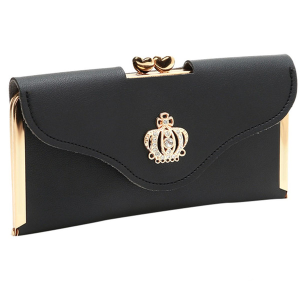Women's Wallet Long Clutch Evening Bags Crown Rhinestones Mobile Phone Bags Ladies Bag For Wedding Diamonds Mini Purse