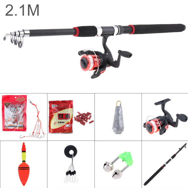 top popular 2.1m Fishing Rod Reel Line Combo Full Kits Spinning Reel Pole Set with Carp Fishing Lures Float Hooks Bell Lead weight 2021