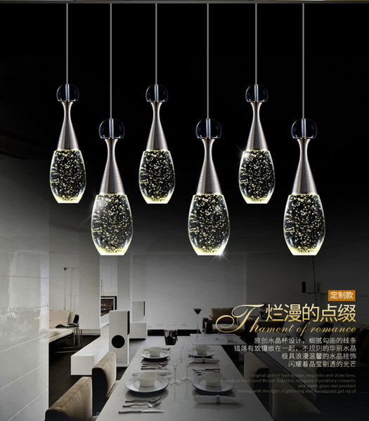 Modern Luxury Bottle Led Chandeliers Lighting Luminaria Lustre Crystal Dining Room Led Pendant Chandelier Lamp Led Hanging Light