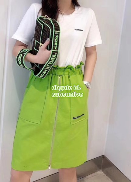 Summer Women Fashion Luxury Designer Splice T-Shirt Dress With Logo Print Girls Empire Runway Midi Knee-Length Skirt Casual Tee Dress