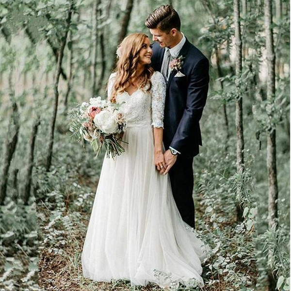 Ivory Bridal Gowns Boho Vintage Tulle Lace 3/4 Long Sleeve Wedding Dress A Line V Neck Backless Appliques Princess Summer Beach Forest