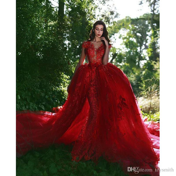 Bubai Wine Red Mermaid Wedding Dress with Detachable Train 2019 Saudi Arabic Lace Wedding Gowns Button Appliques Bridal Dresses