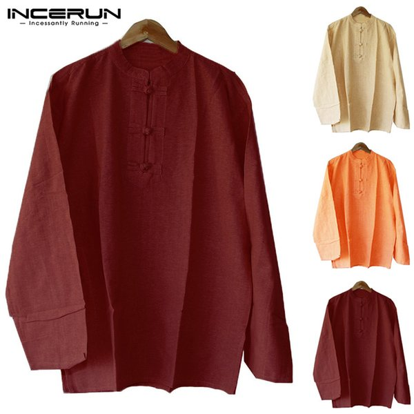 INCERUN 2019 Chinese Style Shirt Men Button Long Sleeve Stand Collar Loose Tops Solid Color Casual Retro Kung Fu Shirts Men 5XL