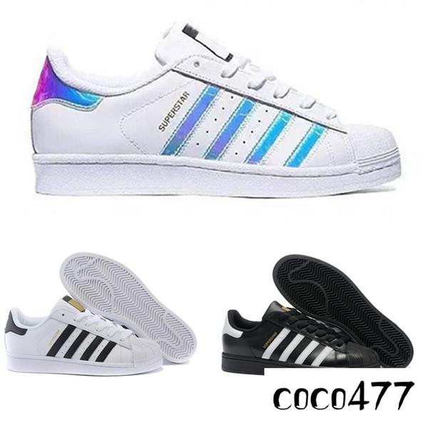 2019 originais superstar holograma branco iridescente júnior superstars 80 s orgulho sapatilhas super star mulheres homens esporte casual shoes eur 36-44