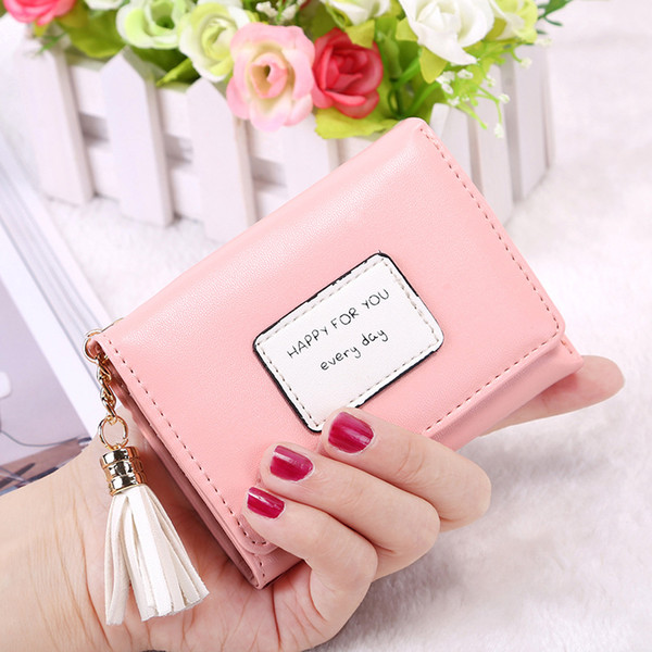 Cute Tassel Lady Women Wallets Trifold Card Holder Slots Coin Organizer Bag Short Wallet Happy for everyday X478