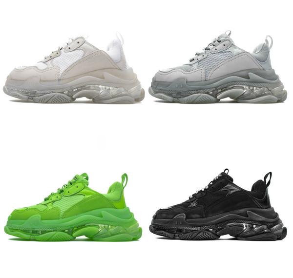 2019 nuevo Triple S Dad Shoes Mejor calidad Triple-S Zapatos casuales Zapatillas de entrenamiento Beige Negro Hombres Mujeres Zapatos casuales Deporte 35-45 con caja