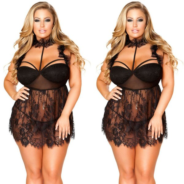 See-through lingerie sexy en dentelle femmes robe sexy Babydoll G-String Femme Sous-vêtements Lingerie String Notte Plus-Size 3XL-5XL