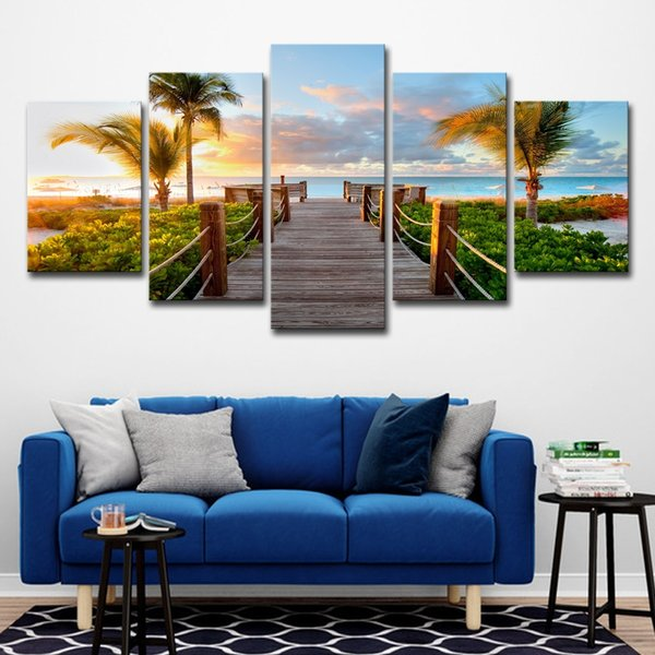 (Only Canvas No Frame) 5Pcs Sunset Beach Bridge Palm Trees Seascape Wall Art HD Print Canvas Painting Fashion Hanging Pictures