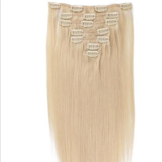 Clip vendedor caliente en 100% extensiones de cabello virgen humano Traceless 14-22 pulgadas personaliza longitud y color