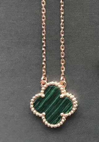 rose gold+green necklace