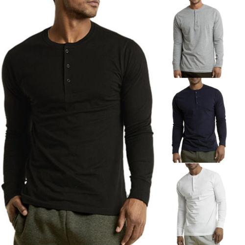 New Mens T-shirts Long Sleeve Cotton Slim Fit Tee Tops Soft Casual Button Autumn Spring T-Shirts S-2XL New Mens T-shirts Long Sleeve Cotton Slim Fit Tee Tops Soft Casual Button Autumn Spring T-Shirts S-2XL
