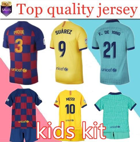BARCELONE maillot de football 19 20 ANSU FATI 2019 2020 Messi Griezmann DE JONG sleeve uniformes camiseta kit enfants chemise de football à long FC