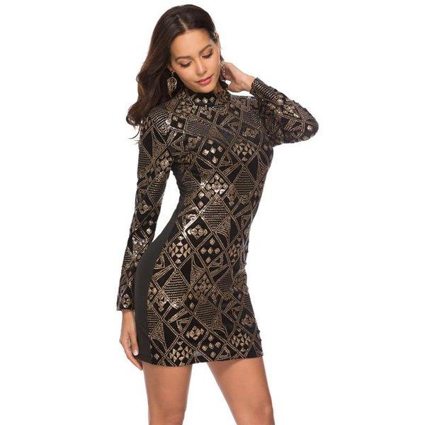 Designer Femmes Broderie Paillettes Robes De Mode À Manches Longues Col Haut Robes Moulantes Femmes Party Club Vêtements