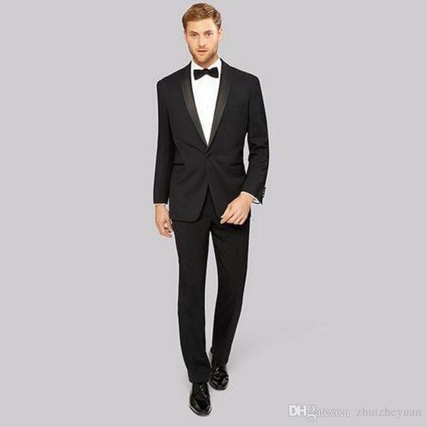 Wedding Suits for Men Black Men Suits Satin Shawl Lapel Wedding Tuxedo Handsome Groom Tuxedo Groomsman Costume (jacket+pant)