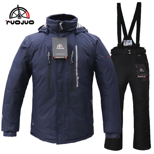 RUOJUO New Hot Men Ski Suit Snowboarding Jacket And Pants Set Male Winter Outdoor Sport Wear Waterproof Windproof RZS590M