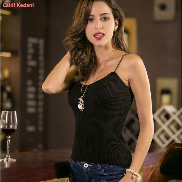 Caidi Kedani Mujeres Carta Correa Tank Tops Mujer Slip Crop Tops Sexy Camis Club Camisoles Negro Ladies Short Tight T Shirt