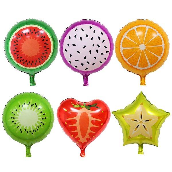 18inch Fruit Fleuret hélium Ballon Peach Melon d'eau Kiwi Fraise Orange Ananas Été Décoration Fournitures de fête Enfants Jouet
