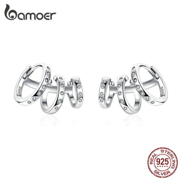 Bamoer Ear Cuff Genuine 925 Sterling Silver Punk Tirple Circle Hoop Earrings For Women Ear Clips Chic Fashion Jewelry Bse085 Y19052401
