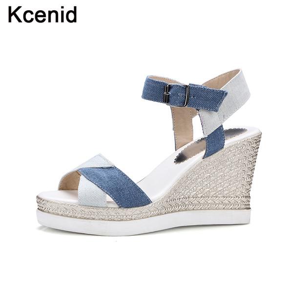 Kcenid Nouveau bleu denim sandales femmes chaussures 2017 été mode peep toe boucle sangle chaussures talons hauts plateforme sandales compensées