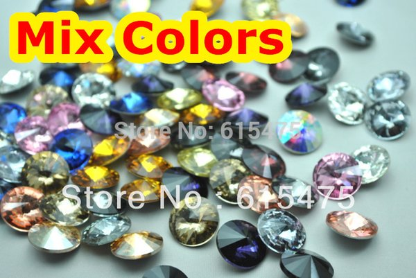 100pcs/lot Mixed Colors 8 100pcs/lot Mixed Colors 8,10,12,14,16,18mm,20mm Chinese Top Quality 1122 Round Fancy Stone Crystal Rivoli Beads