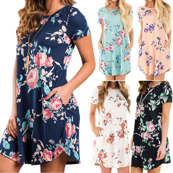Women Irregular Cotton Printed Dress Lady Summer Casual Dresses Girl Fashion Sexy Floral Clothing 5colors LLA462