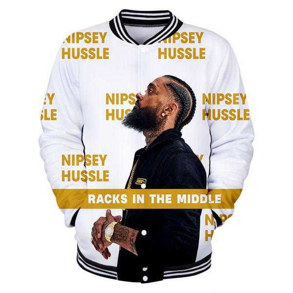 R.I.P Chaquetas de béisbol de Hiphop Chaqueta de nipsey para hombre Hussle Rap Abrigos con botonadura deportiva deportiva Casual