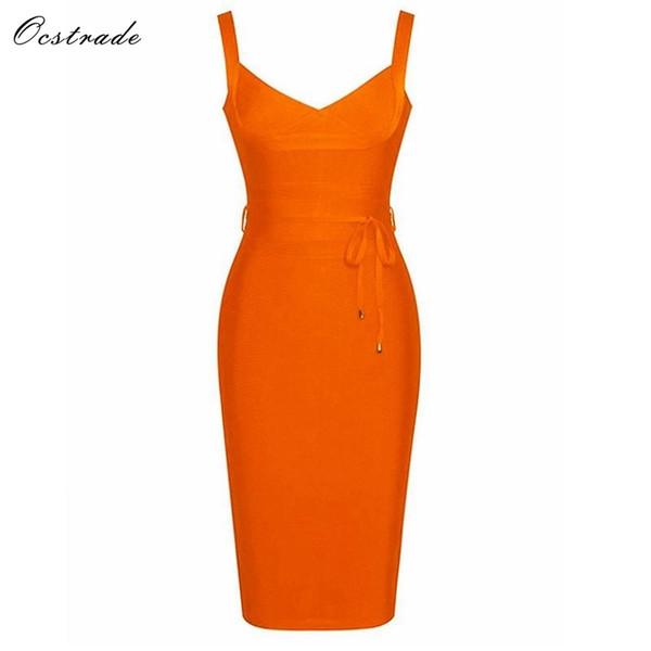 Ocstrade Kleider Verband 2019 Sexy Kleidung Womens Neue Sommer Sex V-ausschnitt Krawatte Taille Marke Neue Verbandkleid Orange Bodycon Kleid J190511