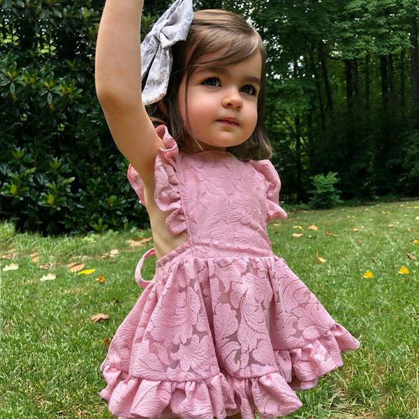 Princesa Baby Girl 0-24M Ropa de verano Vestidos de mameluco Flores de encaje Sin mangas Volantes Vestido sin espalda floral de una línea