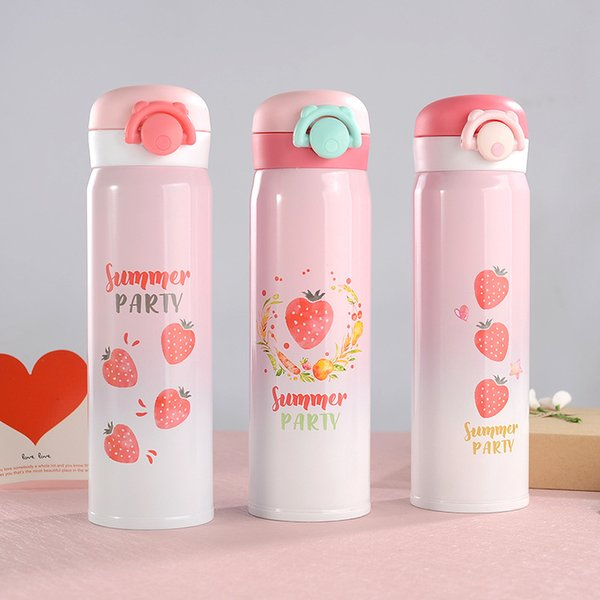 500ML Strawberry Pattern Stainless Steel Thermal Cup with Bouncing Cover Portable Lovely Lady's Water Cup WB457