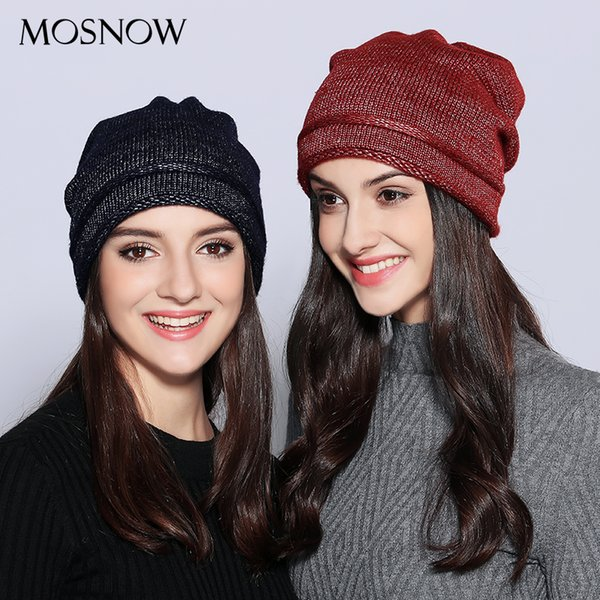 MOSNOW Hats For Women Unique Design Wool Knitted 2018 Autumn Winter Brand New Shining Warm Hat Female Skullies Beanies #MZ703 S18120302