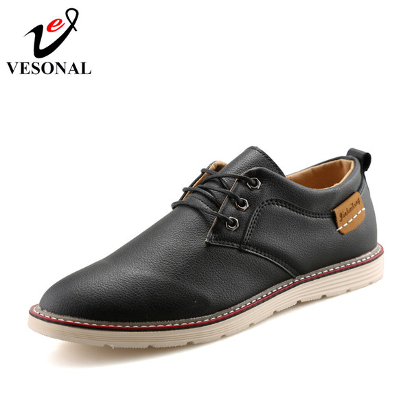 VESONAL Brand Vintage Oxfords Male For Shoes Adult 2018 New Autumn Casual Style Quality Design Business Men Dress Shoes Footwear