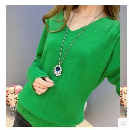 Nuevos suéteres de otoño suéter de cachemira de invierno para mujeres atractivas de la moda con cuello en V jersey de lana floja de la manga del suéter del batwing más el tamaño S-4XL pullover