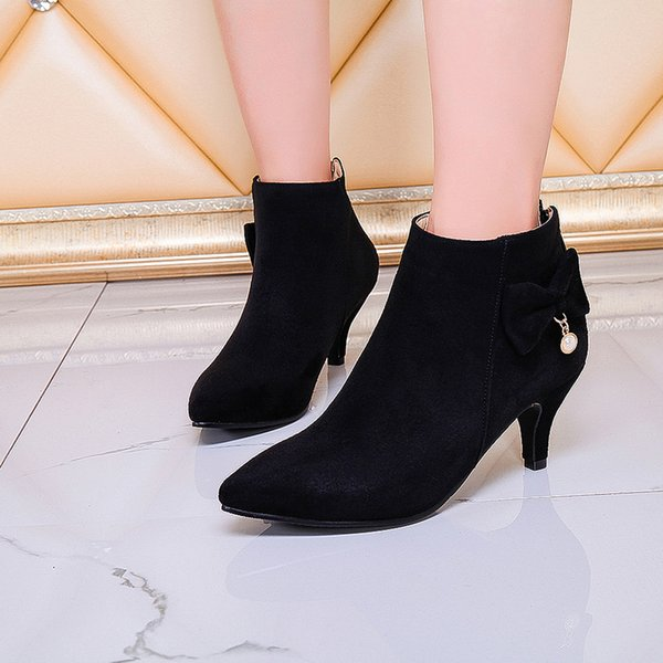Para estrenar 5482f f67d1 Zapatos Botas Mujer Invierno Tacon 2018 Pointed Women'S Boots Bow Stiletto  Booties Back Zipper Bare Boots Ladies Shoes #91 Chelsea Boot Mens Chelsea  ...