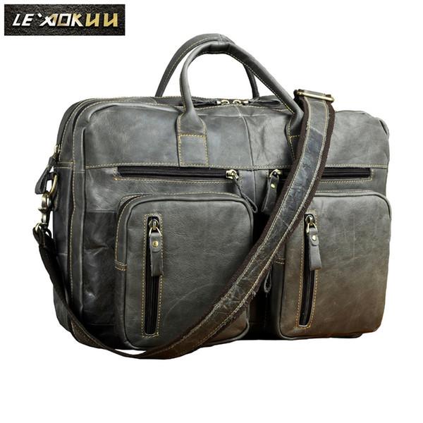 "Original Leather Man bag design Gray Organizer Travel Business briefcase 15"" laptop bag Tote Portfolio Attache Male k1013g #251451"