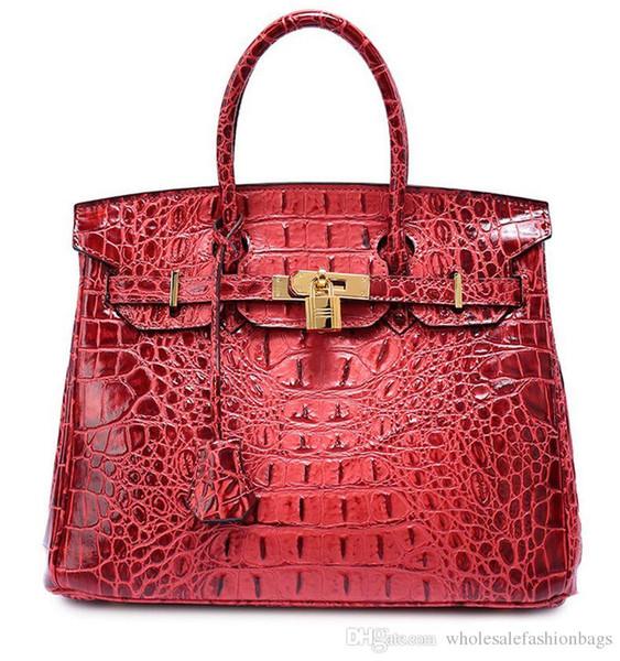 Hotsale brand new superb quality women real advanced cowhide Leather Crocodile pattern handbag Shoulder Bag tote purse dd06