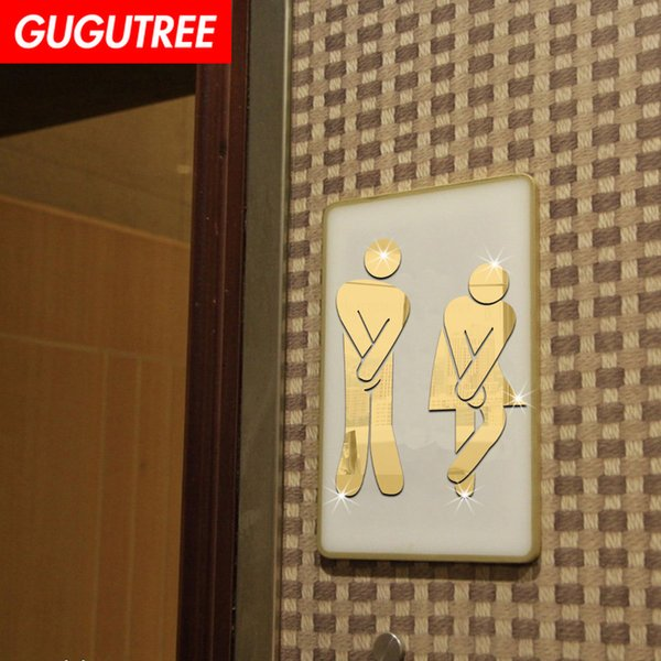 Decorate Home 3D toilet cartoon mirror art wall sticker decoration Decals mural painting Removable Decor Wallpaper G-336