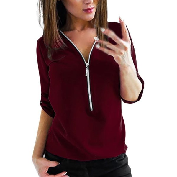 Women's Fashion T-shirt ladies shirts girl Casual tops spring V Neck Long Sleeve Zipper Sexy Tops Chiffon Shirt