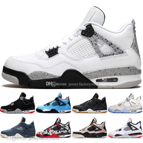 2019 New Bred 4 4s What The Cactus Jack Laser Chaussures de basket-ball pour hommes Denim Bleu Eminem Pale Citron Hommes Sport Baskets Designer