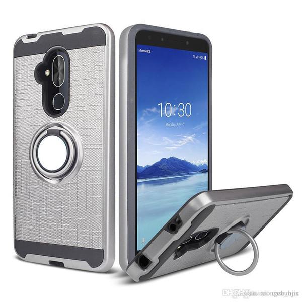 Ring Holder Magnetic Car Mount Hybrid Cover Case for Alcatel idol 5 Fierce 4/5056 Acquire/Streak/Dawn 5027B/4060A