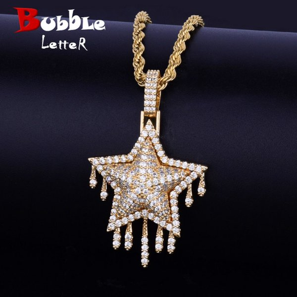 drip star pendant necklace chain rope chain gold silver color bling cubic zircon men's women hip hop jewelry for gift