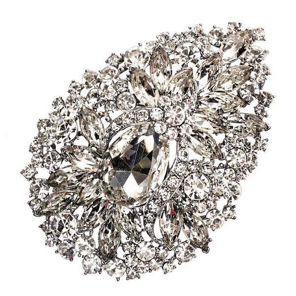3.8 Inç Ekstra Büyük Kalp Cam Kristal Diamante Düğün Gelin Bırak Broş