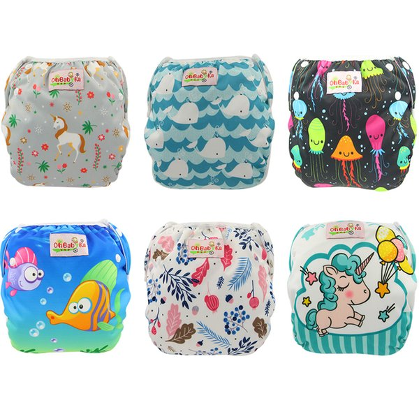 top popular One Size Fits All Unicorn Animals Print Swimming Diaper Baby Boys Girls Waterproof Diapers Newborn Designer Reusable Baby Diaper Nappy Cover 2019