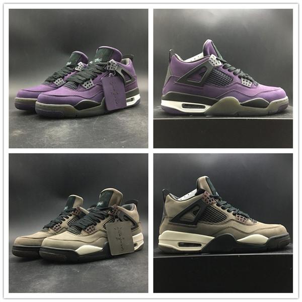 2019 Трэвис Скотти Баскетбол обувь 4S Верх замши Фиолетовый Коричневый Кроссовки мо