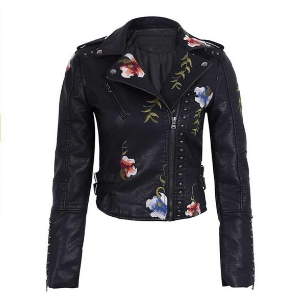Ailegogo otoño del resorte de las flores bordado chaqueta de cuero PU mujeres Dan vuelta-abajo al collar del remache de la cremallera Negro motorista Abrigos Tops Ropa Y190920