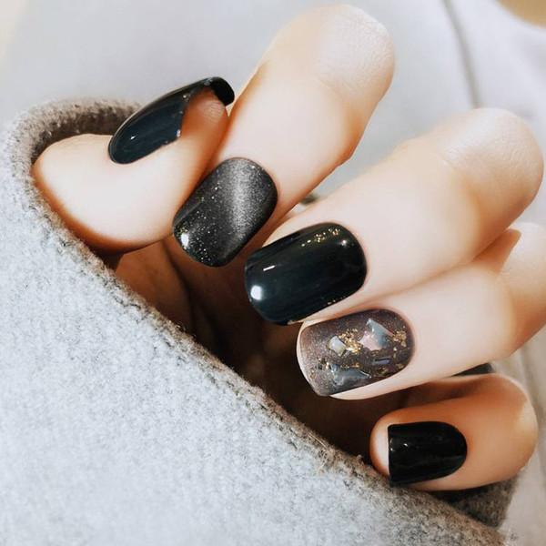 22pcs noir faux ongles Shell yeux de chat tête carrée courte photothérapie faux ongles photothérapie couverture complète nepnagels