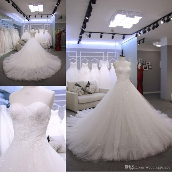 Newest Sweetheart Neck A-line Wedding Dresses Court Train Appliques Beaded Tulle Zipper up Back Bridal Wedding Gowns