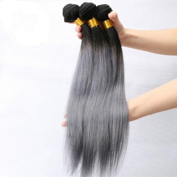 Pacotes brasileiros das extensões do cabelo humano do Virgin do cabelo reto cinzento de Ombre pacotes do cabelo humano de 300g 1b cinza