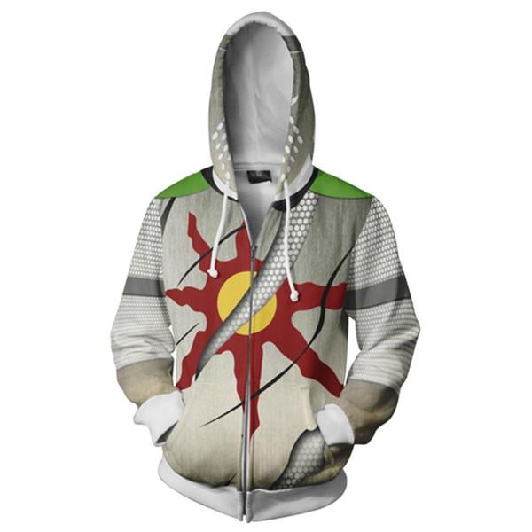 Dark Souls Cosplay Solaire Hoodie Hoody Sweatshirt Adult Men Hoodies Zipper Up Hooded Streetwear